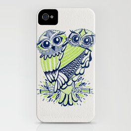 Owls – Navy & Lime iPhone Case