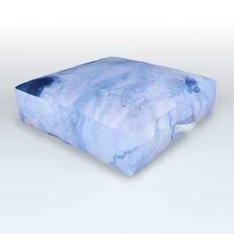 Marbled Water Blue Outdoor Floor Cushion