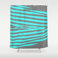 stripes Shower Curtains featuring Aqua & Gray Stripes by 2sweet4words Designs