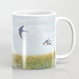 barn swallows, day lilies, and chicory Coffee Mug
