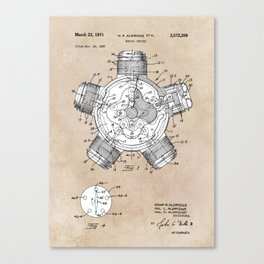 patent art Aldridge 1971 Radial engine Canvas Print