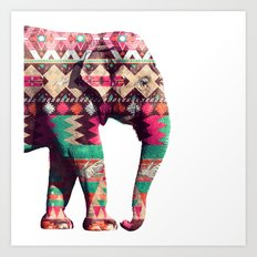 Whimsical Aztec Elephant Pink Turquoise Geometric Art Print