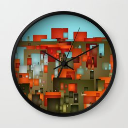 Abstract city in color by lh Wall Clock