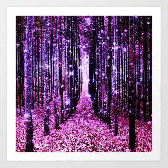 Magical Forest Pink & Purple Art Print