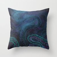kraken Throw Pillows featuring Kraken by Henri Scribner