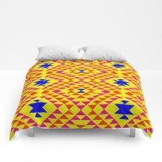 Tribal geometric pattern - yellow Comforters