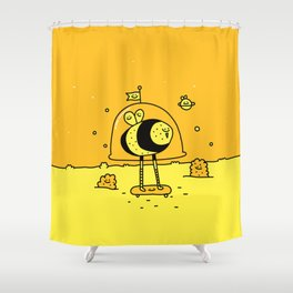 Happy Space Bee Shower Curtain