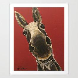 Donkey Art, Cute Donkey Art, Fun Farm Animals Art Print