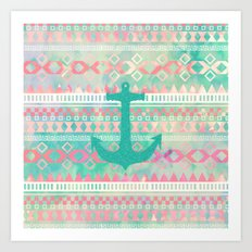 Sailing Aztec | Emerald Nautical Anchor Pastel Watercolor Aztec Art Print