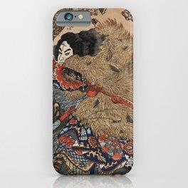 Traditional Japanese ukiyo-e style illustration of a samurai man, the hero of the Suikoden, holdin iPhone Case