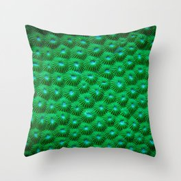 Green Curl Polyps Throw Pillow