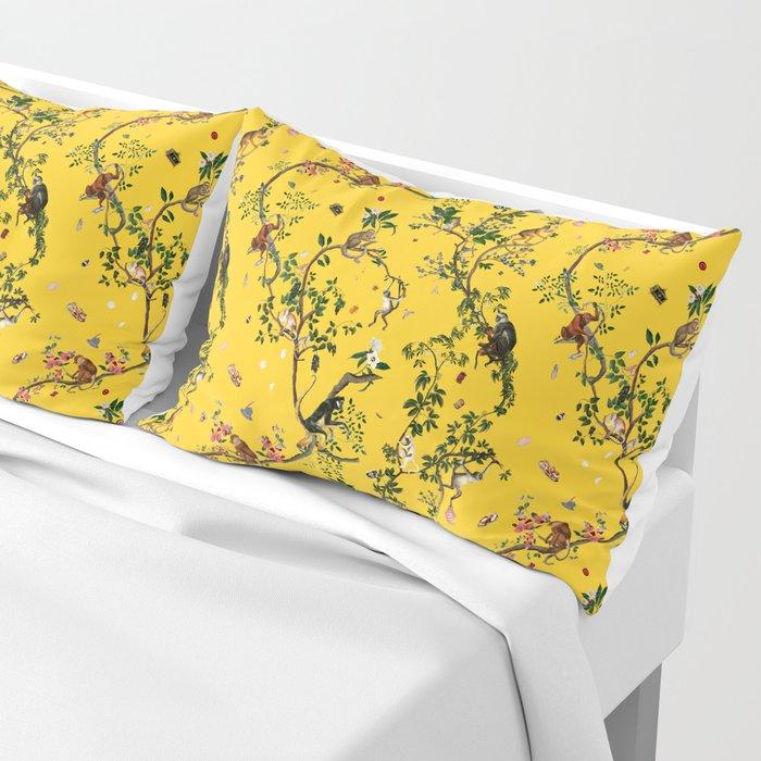 Monkey World Yellow Pillow Sham