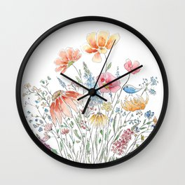 wild flower bouquet and blue bird- ink and watercolor 2 Wall Clock