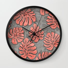 leaves coral pink on concrete grey seamless pattern Wall Clock