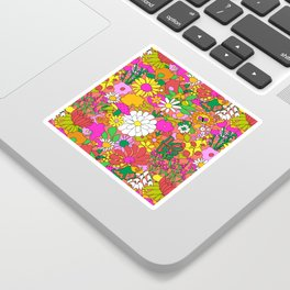 60's Groovy Garden in Neon Peach Coral Sticker