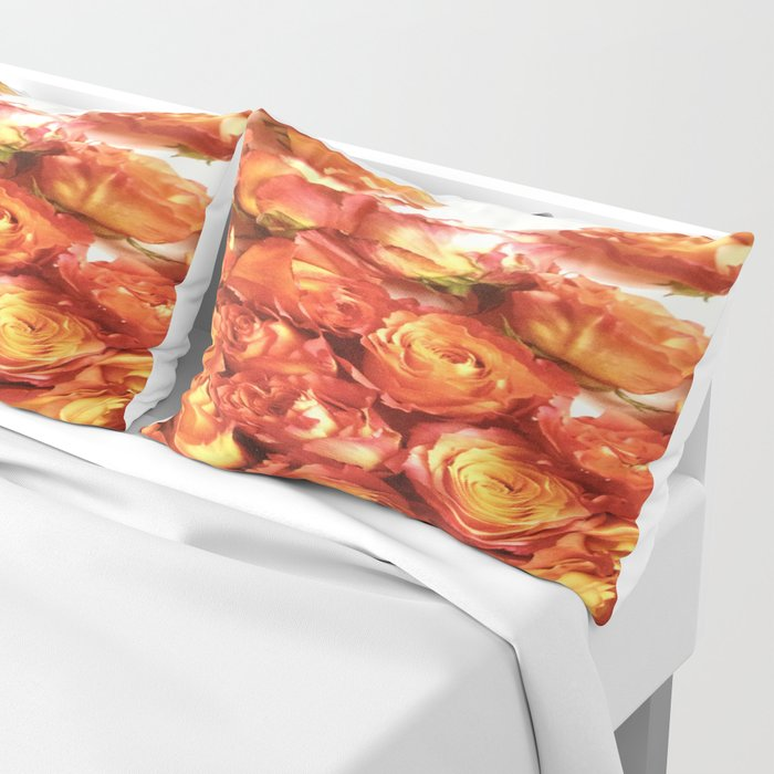 Cluster Of Orange Roses Pillow Sham