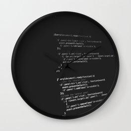 BLACK - WHITE - PROGRAMMING - CODE - TECH Wall Clock