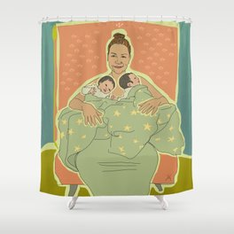 Mother with Twins Shower Curtain