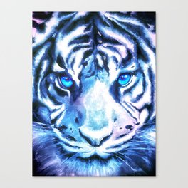 White Tiger | Snow Tiger | Tiger Face | Space Tiger Canvas Print