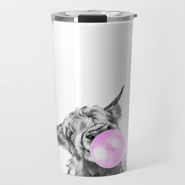 Bubble Gum Highland Cow Black and White Travel Mug