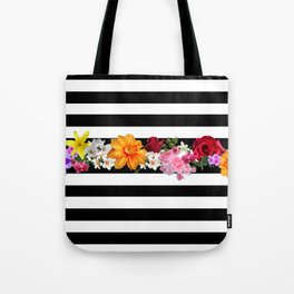 flowers on black and white stripes Tote Bag