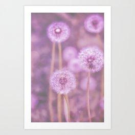 Romantik pink dandelion flower meadow Art Print
