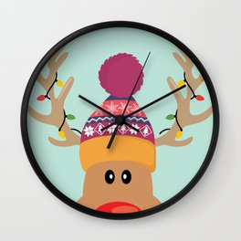 Rudolph Red Nosed Reindeer is looking at you Wall Clock