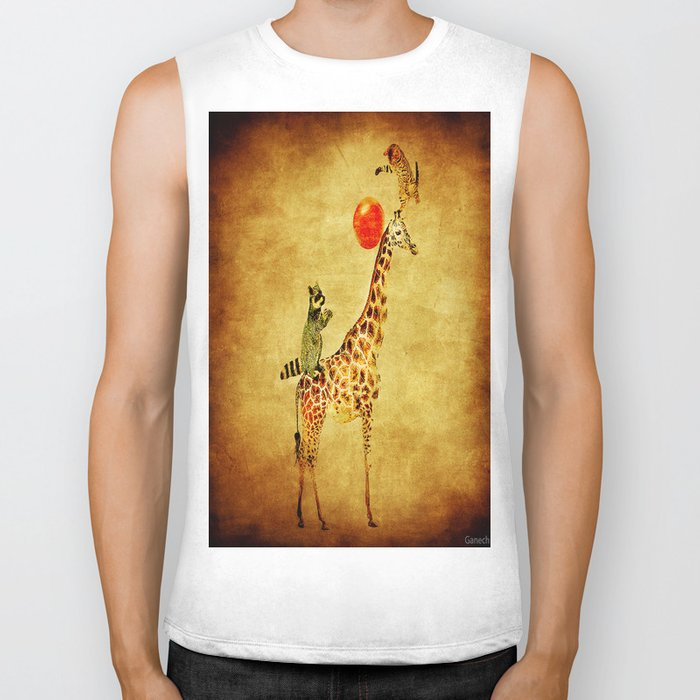 By playing on the giraffe Biker Tank
