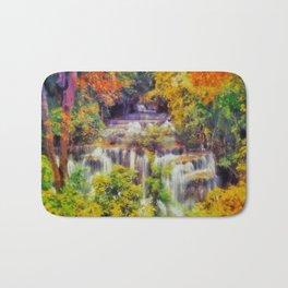 Autumn landscape with waterfall Bath Mat