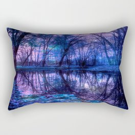 Enchanted Forest Lake Purple Blue Rectangular Pillow