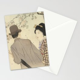 Man with bowler hat and umbrella and lady in kimono - Takeuchi Keishu (1900 - 1925) Stationery Cards