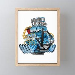 Classic Muscle Car Hot Rod Chrome Racing Engine Cartoon Framed Mini Art Print
