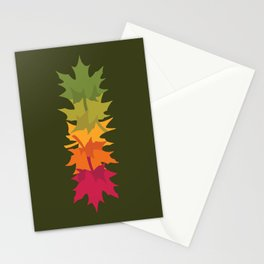 Falling Maple : Green Stationery Cards