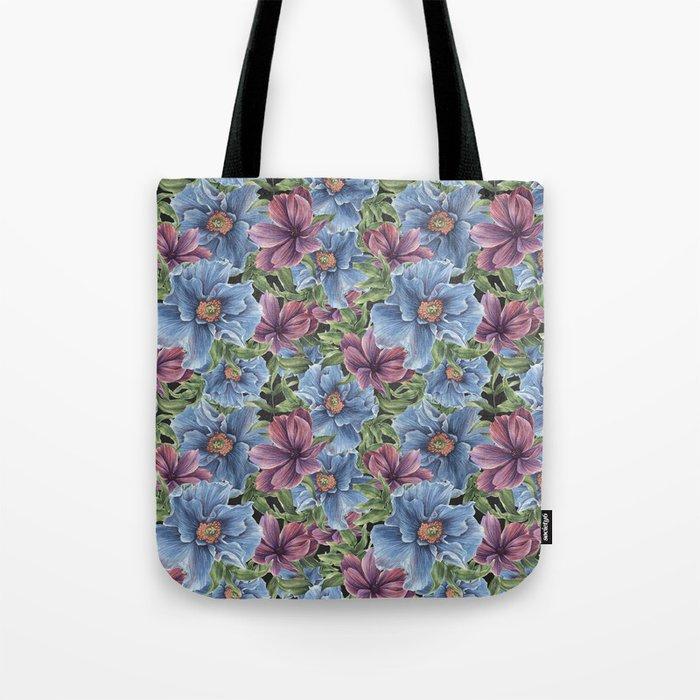 Hibiscus Flowers on Chalkboard Tote Bag