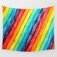 candy Wall Tapestries featuring Rainbow Candy: Licorice by WhimsyRomance&Fun