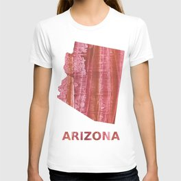 Arizona map outline Indian red stained wash drawing T-shirt