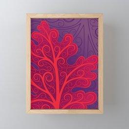Oak Leaf, Abstract Red and Purple Fall Botanical Framed Mini Art Print