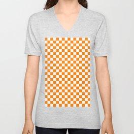 Small Checkered - White and Orange Unisex V-Neck