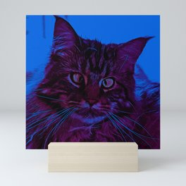 squinting maine coon cat vector art night from day Mini Art Print