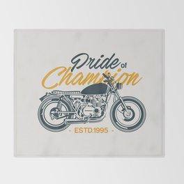 Classic Motorcycle Club Illustration Throw Blanket