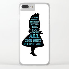 Alice In Wonderland - Watercolor Text -  Have I Gone Bonkers Quote Clear iPhone Case
