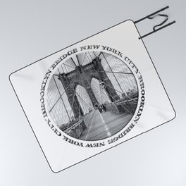 Brooklyn Bridge New York City (black & white with text) Picnic Blanket