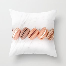 Pastel Macarons Flat Lay Print, French Macaron Decor, Sweet Colorful Candy Food Print, Minimalist Cuisine, France Cookies Shop Print Throw Pillow