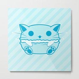 Blue Kawaii Cat Macaroon Metal Print