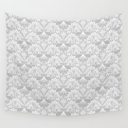 Stegosaurus Lace - White / Silver Wall Tapestry
