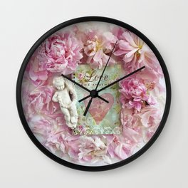Pink Shabby Chic Peony Love Heart Floral Prints - Shabby Chic Peony Home Decor Wall Clock