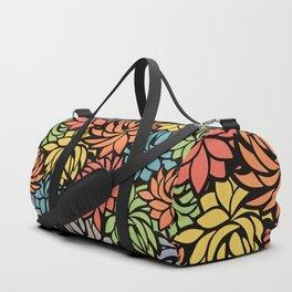 Stylized Dahlia Pattern Duffle Bag