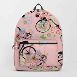 Bicycle and Colorful Floral Ornament Backpack