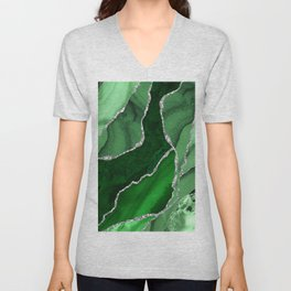 Emerald Green And Silver Marble Waves #society #buyart Unisex V-Neck