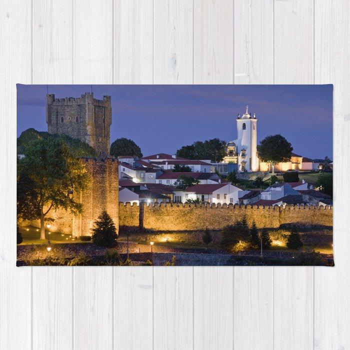 Braganca castle at dusk, Portugal Rug